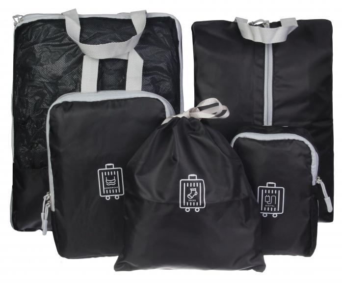 Косметичка дорожная с черными тканевыми сумками