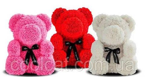 Мишка из Роз 25см  + ПОДАРОК! Мишка из цветов в подарочной коробке