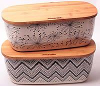 Хлебница Kamille 36х20.2 из бамбукового волокна с бамбуковой крышкой, фото 1