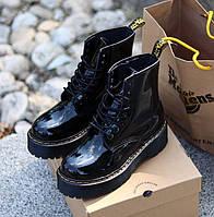 Женские ботинки Dr. Martens Jadon черные лакированная кожа