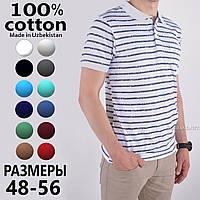 Белая мужская футболка Поло 100% хлопок / Узбекистан ТМ Fazor / Размеры:48/52/54