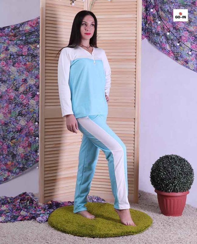 Пижама женская теплая с начесом голубая 44-60 р.