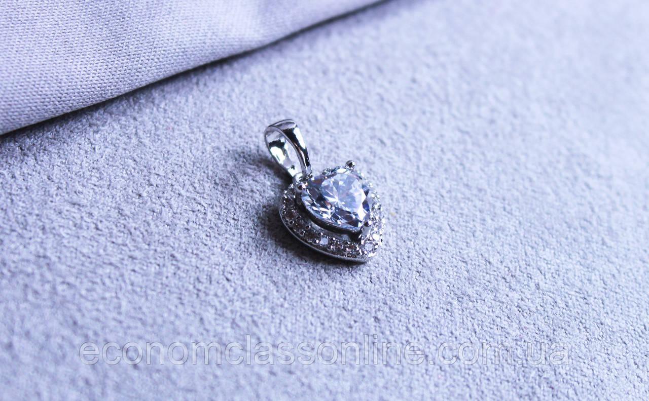 Кулон сердце фирмы Xuping (Rhodium color 2)