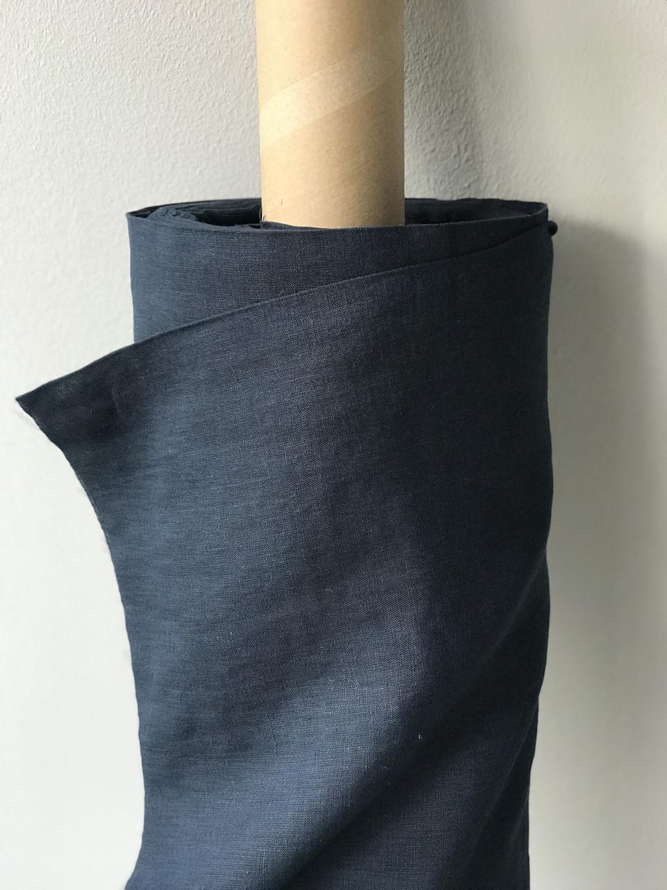 Темно-синяя льняная ткань, 100% лен, цвет 999, CRASH EFFECT