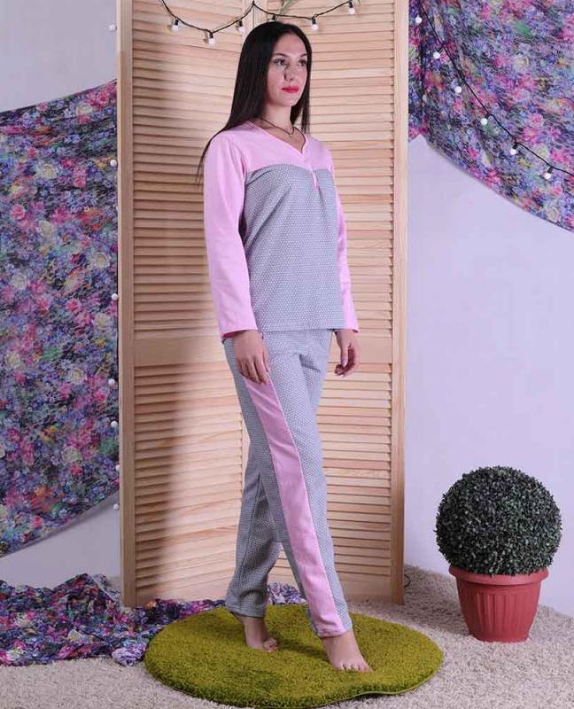 Жіноча піжама з начосом сіра 44-60 р.