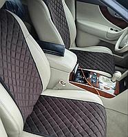 Накидки на сиденья Темно-коричневые Узкие. Полный комплект из алькантары
