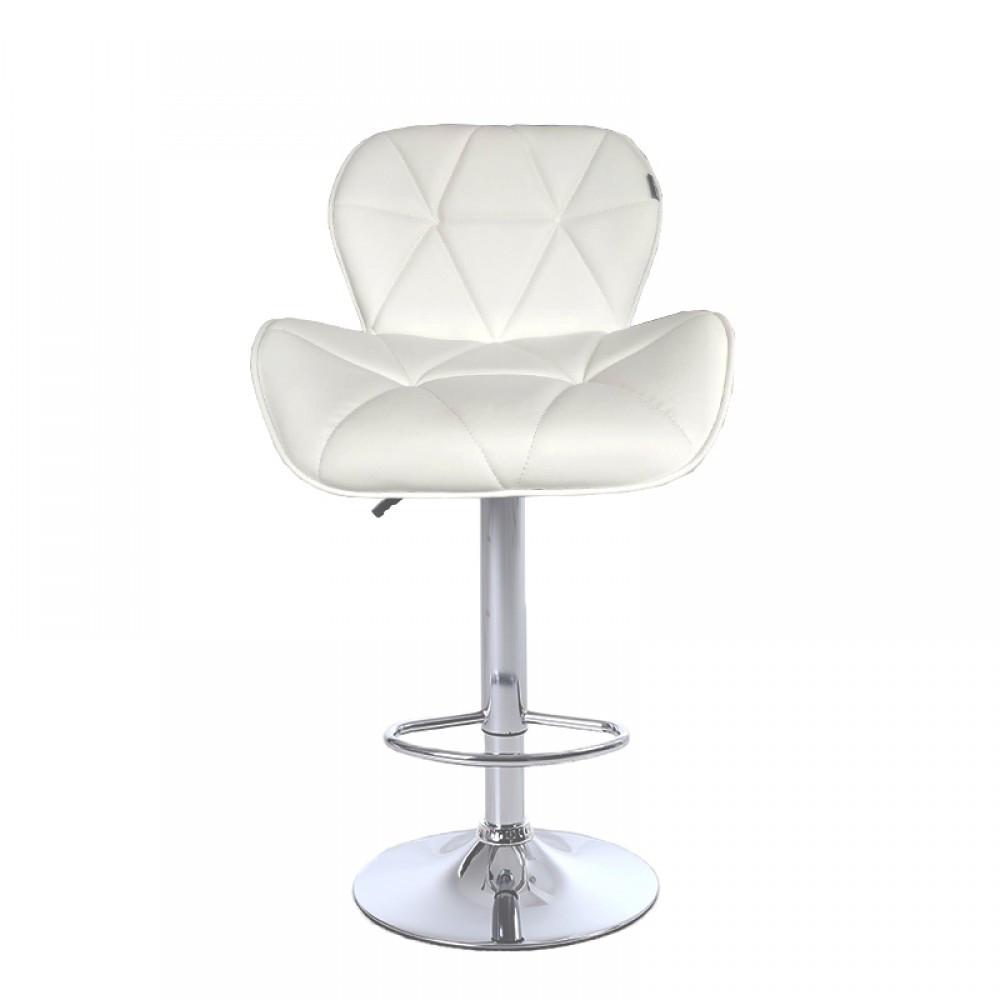 Барный стул хокер металический с нагрузкой до 120 кг мягкий с оборотом на 360 градусов белый