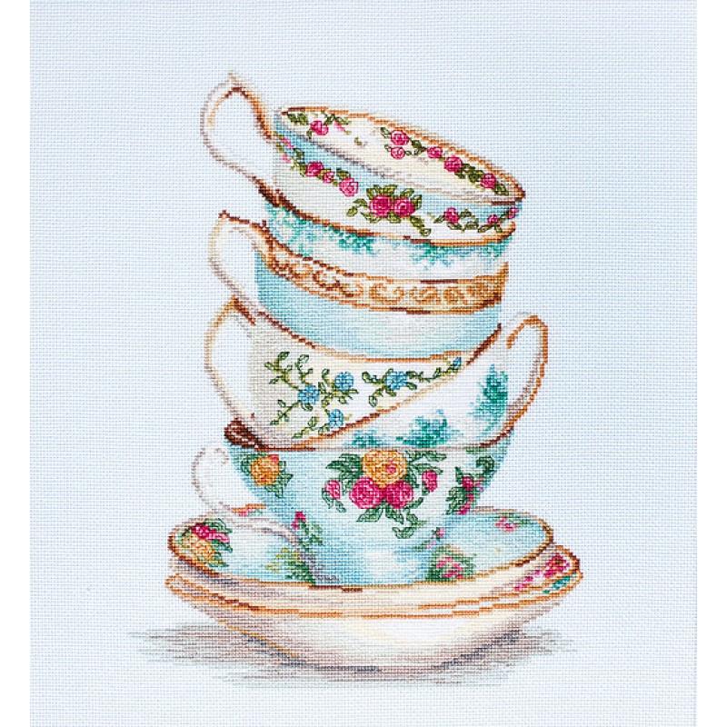 Набор для вышивания нитками Luca-S Цветы Бирюзовые чайные чашки Aida 16