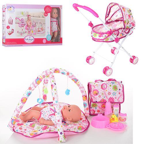 Лялька-пупс 36 см у наборі з коляскою, килимком, сумкою, п'є, 86926