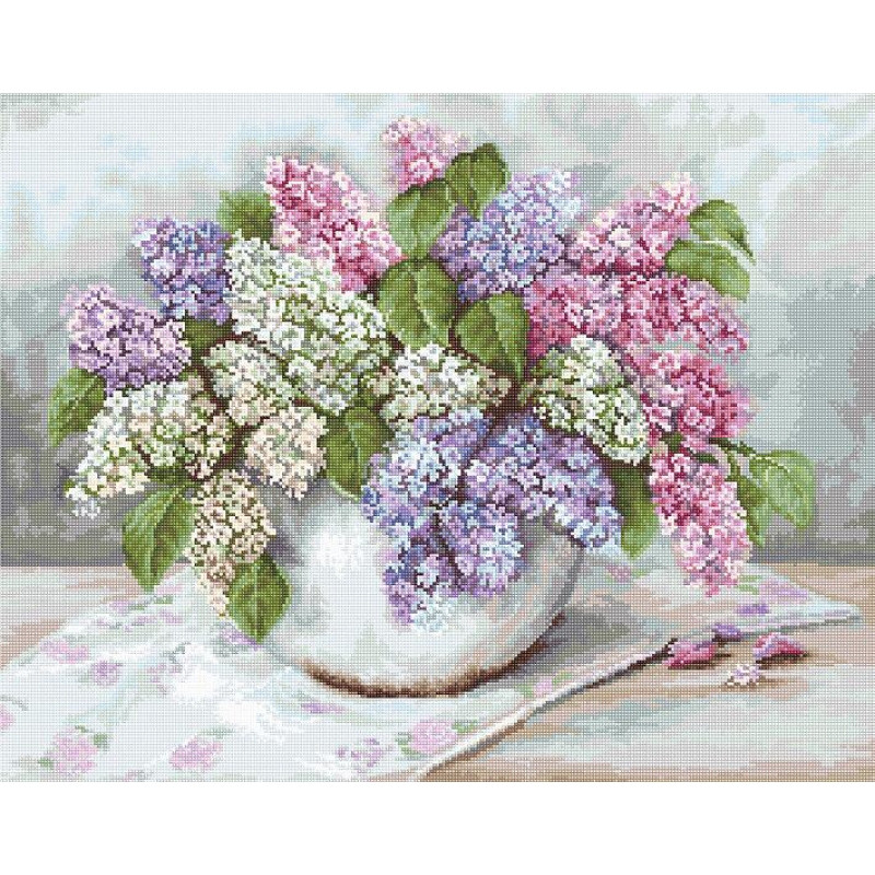 Набор для вышивания нитками Luca-S Цветы Сирень