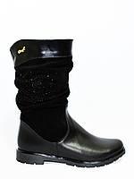 Женские зимние ботинки на низом ходу, замша и кожа, декорированы накаткой камней., фото 1