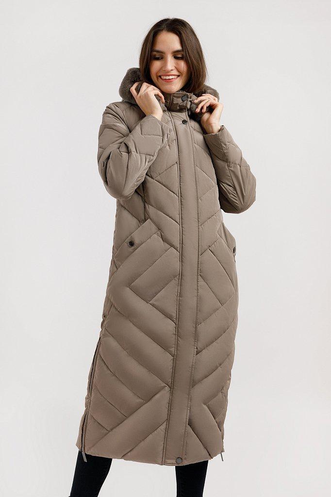 Женский зимний пуховик Finn Flare W19-12026-623 длинный с мехом кролика серо-коричневый