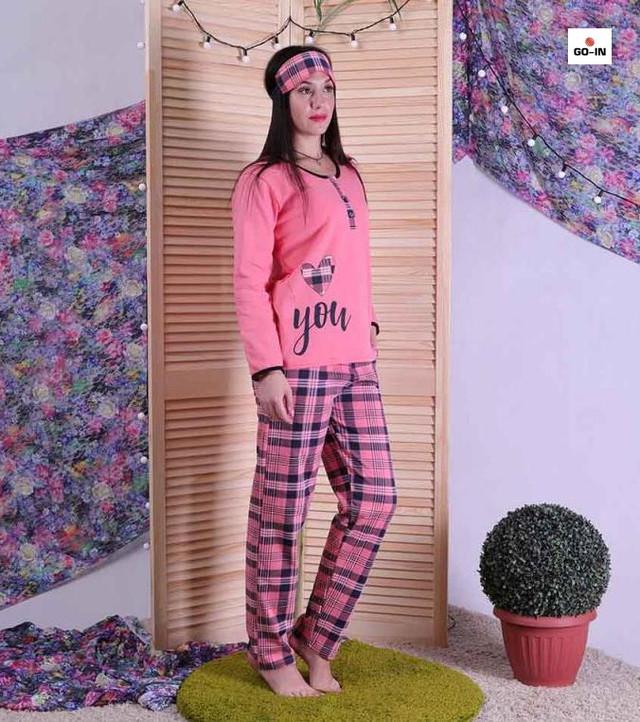Пижама теплая женская с маской с начесом для беременных розовая 44-56 р.