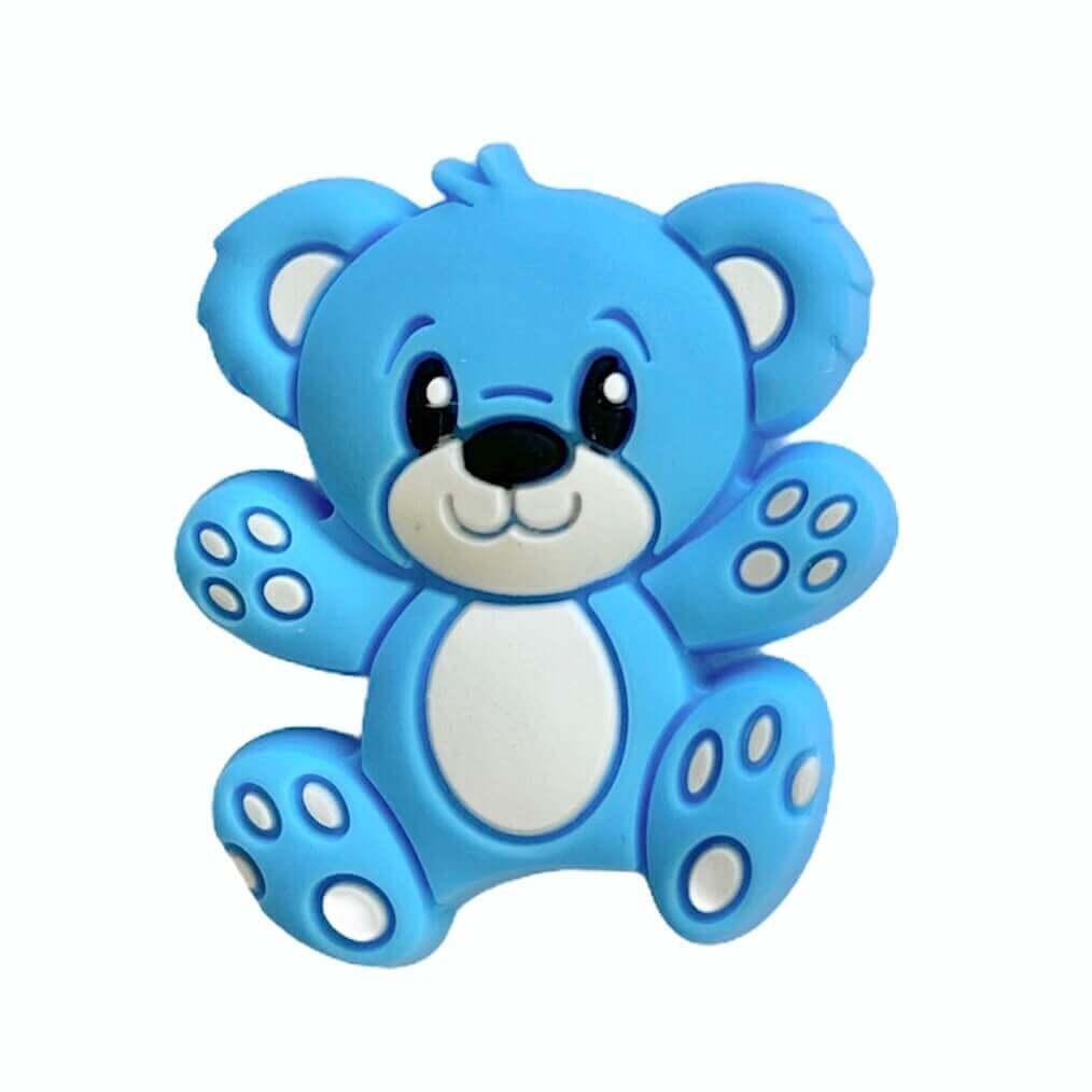 Мини Мишка Тедди  (голубой), силиконовая бусина