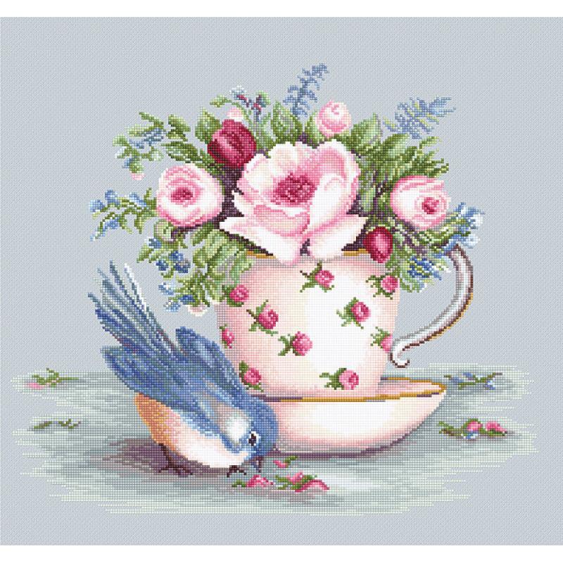 Набор для вышивания нитками Luca-S Цветы Птичка и чашка чая