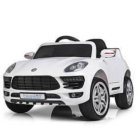 Дитячий електромобіль Porsche (2 мотора за 30W, 2 акум, МР3,USB) Джип Bambi M 3178EBLR-1 Білий