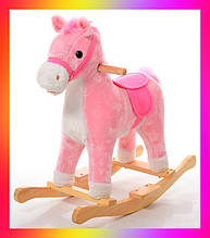 Дитячий коник гойдалка музична зі звуковими ефектами MP 0081 Рожевий