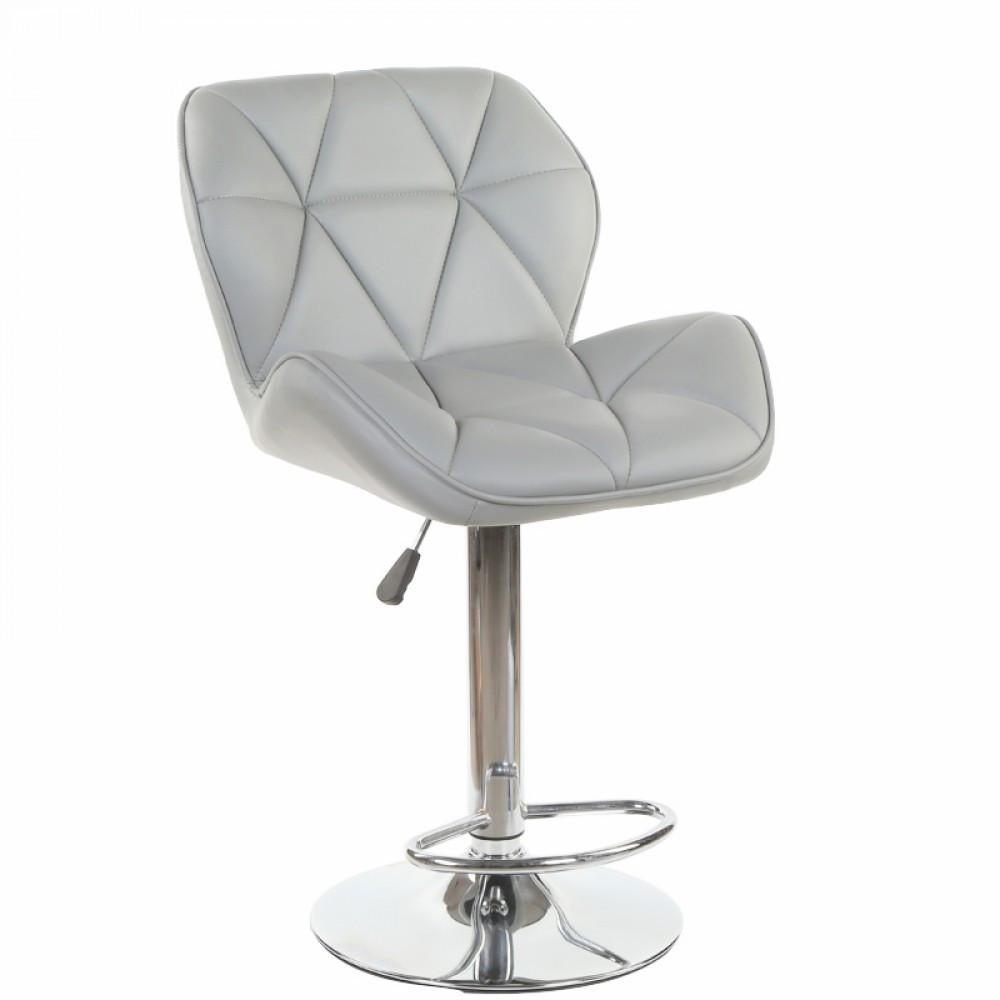 Барний стілець хокер з хромованою ніжкою з гумовим покриттям навантаження до 120 кг м'який сірий