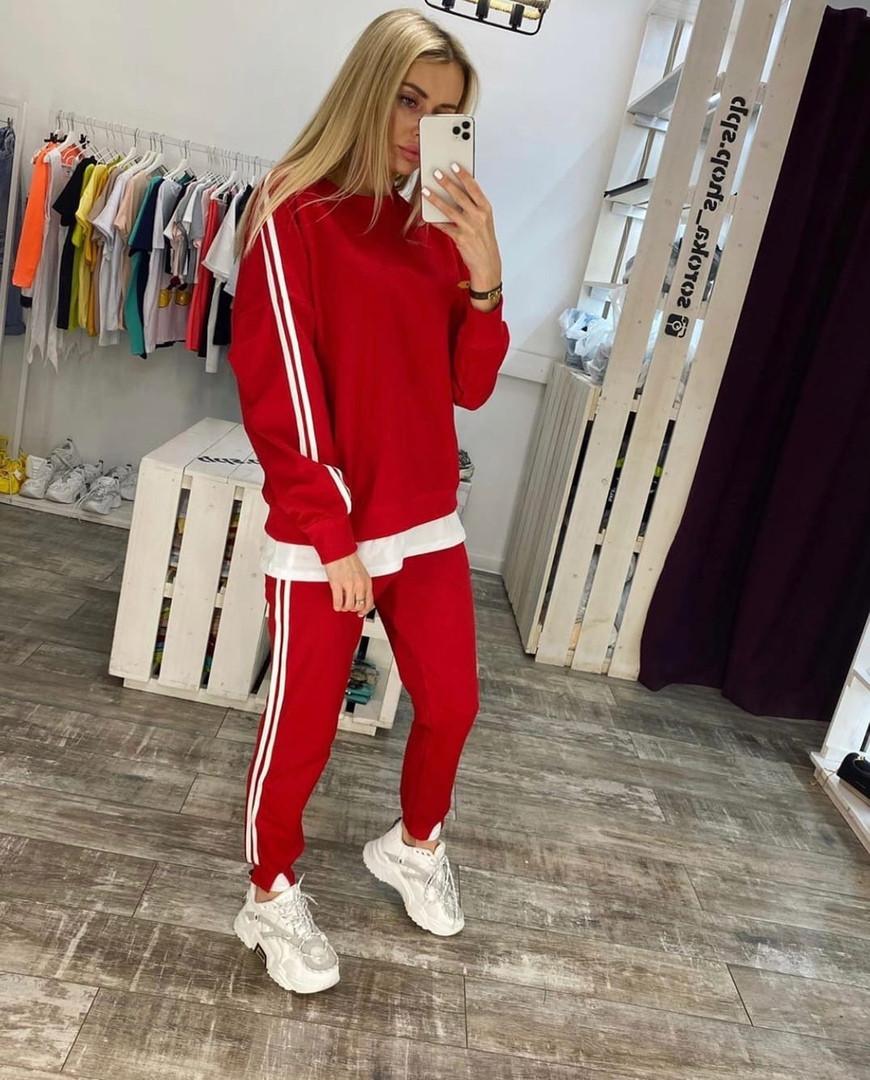 Женский спортивный костюм, турецкая двунить, р-р 42-44; 44-46 (красный)