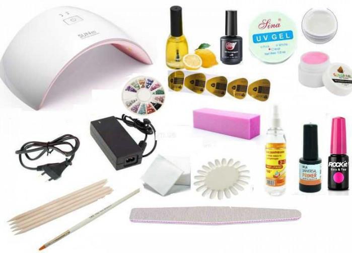 Стартовый набор для покрытия гель-лаком и наращивания ногтей