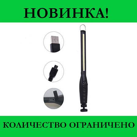 Фонарик BL 821 + с магнитом COB 18650 battery usb charge- Новинка, фото 2