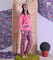 Піжама тепла жіноча з маскою з начосом для вагітних рожева в клітку 44-56 р.