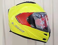 Шлем трансформер ярко салатовый + солнцезащитные очки LS-2