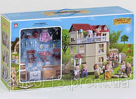 """Будиночок """"Щаслива родина"""" 012-10, меблі, 2 фігурки, підсвітка"""