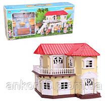 """Будиночок """"Щаслива родина"""" 012-01 меблі, 2 фігурки, підсвітка"""