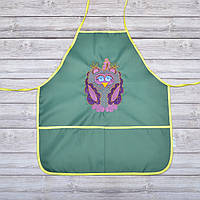 Фартук с нарукавниками детский - для трудов, рисования, кухни, с вышивкой - сова 5, цвет - зеленый
