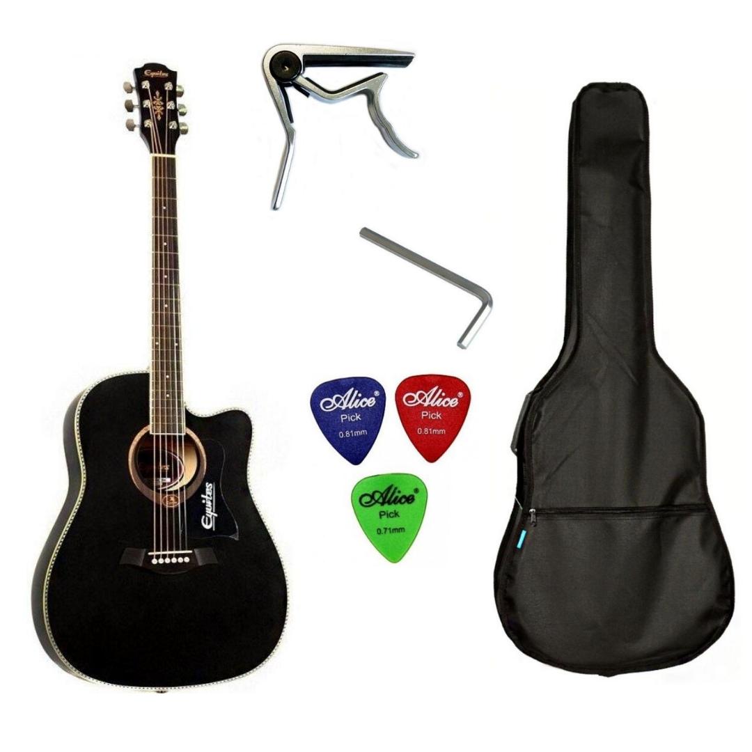 Набір акустична гітара Equites EQ900C BK 41 + чохол + каподастр