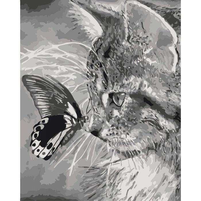 """Картина по номерам. Животные, птицы """"Котёнок и бабочка"""" KHO2499, 40*50 см"""