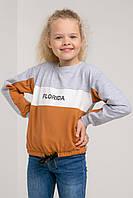 Детская яркая кофточка из трикотажа на кулиске светло-серая+терракотовая на рост 116, 122, 128