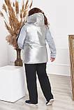 Комфортная жилетка из блестящей плащовки монклер, большие размеры Код 3368Ф, фото 8
