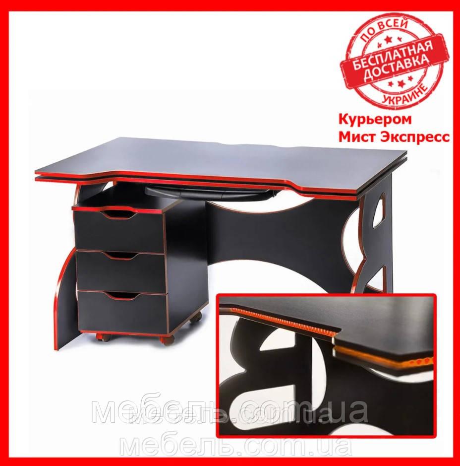 Компьютерный стол с тумбой Barsky HG-05/LED/CUP-05/ПК-01 Game Red, геймеймерский стол