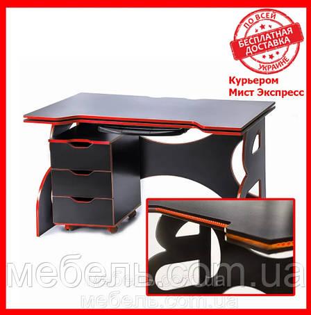 Компьютерный стол с тумбой  Barsky HG-05/LED/CUP-05/ПК-01 с подъемным механизмом, геймерский стол, фото 2