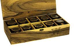 Креативний елітний подарунок. Іменний дерев'яний органайзер для годинників, прикрас, особистих речей чоловіка дружину дівчину