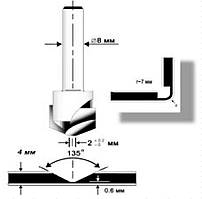 Фреза V-образна під композит Topfix, 2x22x10x8 мм, 135° (01122)