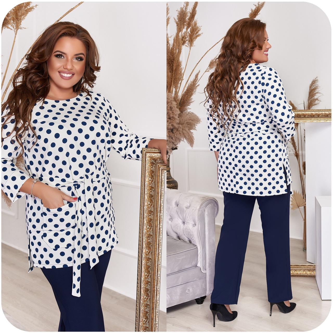 Стильный костюм двойка блуза-туника + брюки, разные цвета,р.48-50,52-54,56-58,60-62,64-66 Код 3362Ф