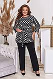 Стильный костюм двойка блуза-туника + брюки, разные цвета,р.48-50,52-54,56-58,60-62,64-66 Код 3362Ф, фото 5