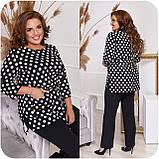 Стильный костюм двойка блуза-туника + брюки, разные цвета,р.48-50,52-54,56-58,60-62,64-66 Код 3362Ф, фото 4