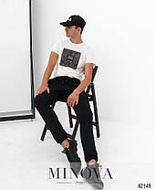 Мужские брюки чёрного цвета со шнурком в поясе коттон, размеры  от 48 по 54, фото 2