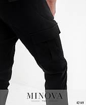 Мужские брюки чёрного цвета со шнурком в поясе коттон, размеры  от 48 по 54, фото 3
