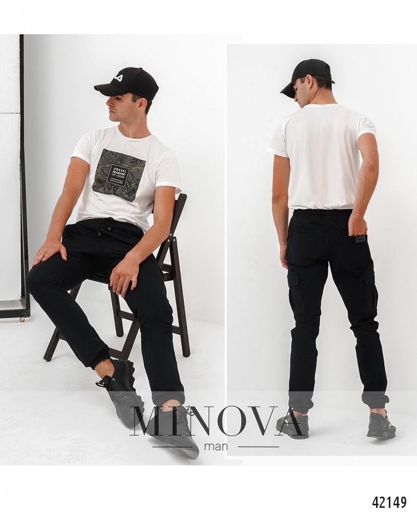 Мужские брюки чёрного цвета со шнурком в поясе коттон, размеры  от 48 по 54