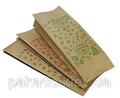 "Пакет с центральным швом 135х360х35 (1кг) КРАФТ / Метал / Ре + рис. ""С новым годом"" (зеленый)"