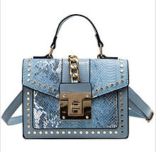 Красивые модные сумки женская под питона с заклепками на плечо стильная Valentino