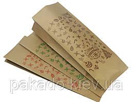 Пакет с центральным швом 135х360х35 (1кг) КРАФТ / Метал / Ре + рис. С новым годом (коричневый)