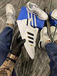 Мужские кроссовки Adidas Drop Step White Gold (белый/золото)