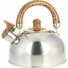 Чайник Maestro коричневая ручка 1,8л нержавейка, Чайник с крышкой и ручкой, Чайник со свистком из нержавейки