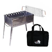Мангал чемодан раскладной на 8 шампуров из нержавеющей стали с сумкой и решеткой